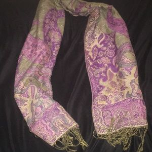 Accessories - Winter magenta and gold scarf with tassels